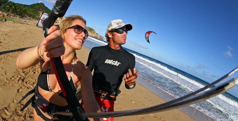 Kite sur une plage de Guadeloupe